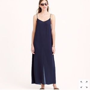 NWOT J. Crew Navy Blue Slip Dress Maxi, Small
